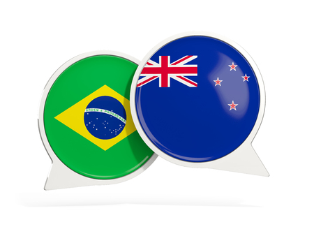 Flags of Brazil and new zealand inside chat bubbles isolated on white. 3D illustration