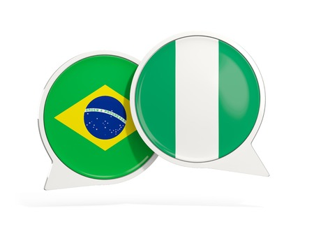 Flags of Brazil and nigeria inside chat bubbles isolated on white. 3D illustration