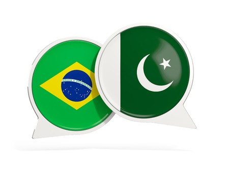 Flags of Brazil and pakistan inside chat bubbles isolated on white. 3D illustration