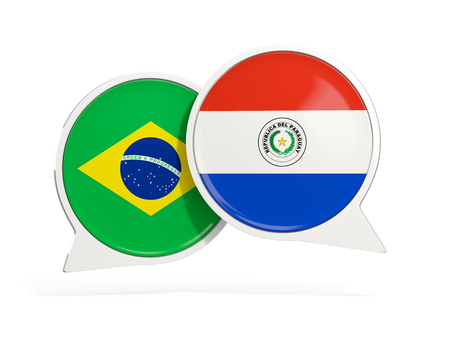 Flags of Brazil and paraguay inside chat bubbles isolated on white. 3D illustration