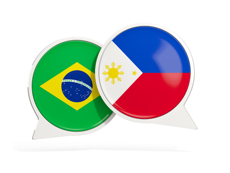 Flags of Brazil and philippines inside chat bubbles isolated on white. 3D illustration
