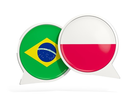 Flags of Brazil and poland inside chat bubbles isolated on white. 3D illustration Imagens