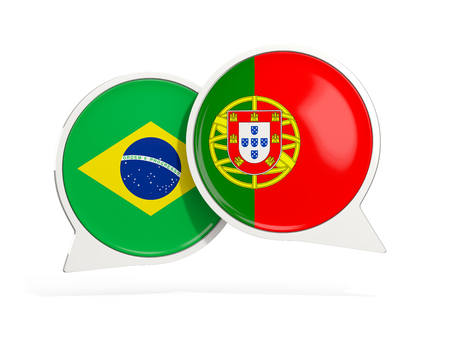 Flags of Brazil and portugal inside chat bubbles isolated on white. 3D illustration