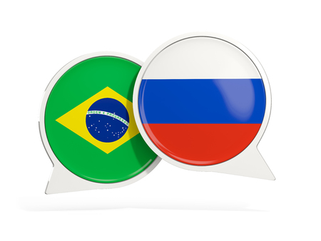 Flags of Brazil and russia inside chat bubbles isolated on white. 3D illustration