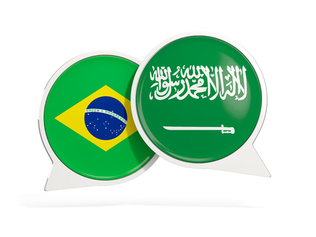 Flags of Brazil and saudi arabia inside chat bubbles isolated on white. 3D illustration