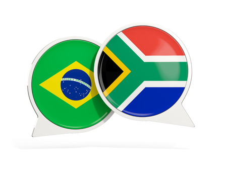 Flags of Brazil and south africa inside chat bubbles isolated on white. 3D illustration Imagens