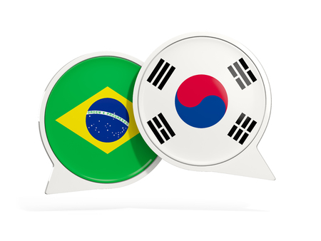 Flags of Brazil and south korea inside chat bubbles isolated on white. 3D illustration