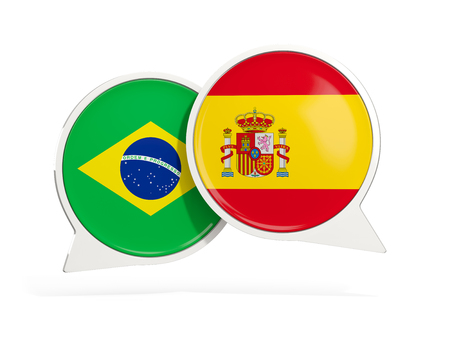 Flags of Brazil and spain inside chat bubbles isolated on white. 3D illustration Imagens