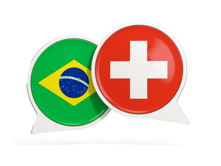 Flags of Brazil and switzerland inside chat bubbles isolated on white. 3D illustration