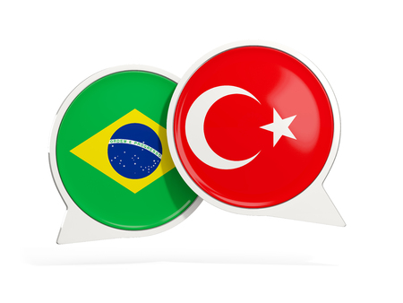 Flags of Brazil and turkey inside chat bubbles isolated on white. 3D illustration