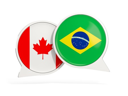 Flags of Canada and brazil inside chat bubbles isolated on white. 3D illustration