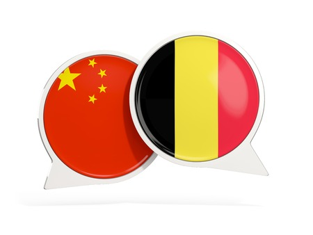 Flags of China and belgium inside chat bubbles isolated on white. 3D illustration