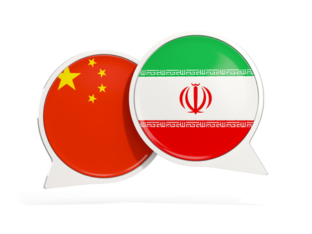Flags of China and iran inside chat bubbles isolated on white. 3D illustration