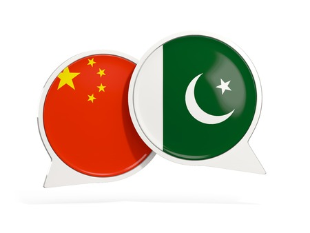 Flags of China and pakistan inside chat bubbles isolated on white. 3D illustration Stock Photo