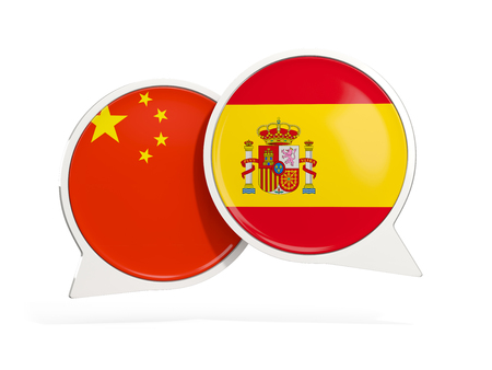 Flags of China and spain inside chat bubbles isolated on white. 3D illustration Archivio Fotografico - 124302512