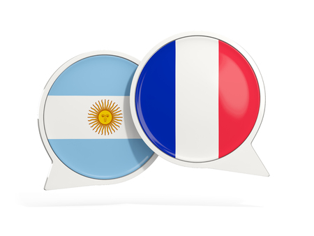 Flags of Argentina and france inside chat bubbles isolated on white. 3D illustration