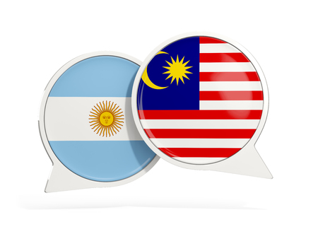 Flags of Argentina and malaysia inside chat bubbles isolated on white. 3D illustration