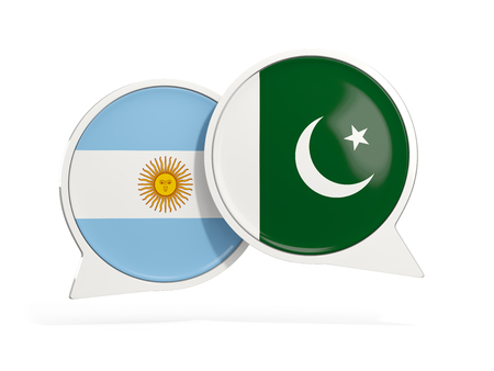 Flags of Argentina and pakistan inside chat bubbles isolated on white. 3D illustration
