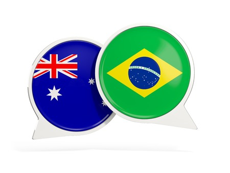 Flags of Australia and brazil inside chat bubbles isolated on white. 3D illustration