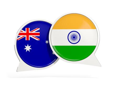 Banderas de Australia y la India dentro de burbujas de chat aisladas en blanco. Ilustración 3D Foto de archivo