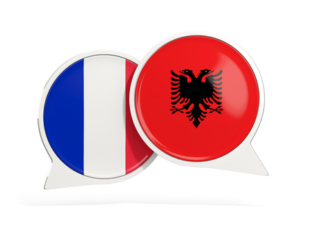 Flags of France and albania inside chat bubbles isolated on white. 3D illustration