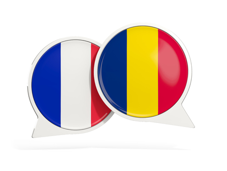 Flags of France and chad inside chat bubbles isolated on white. 3D illustration