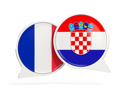 Flags of France and croatia inside chat bubbles isolated on white. 3D illustration Stock Photo
