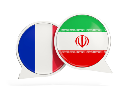 Flags of France and iran inside chat bubbles isolated on white. 3D illustration