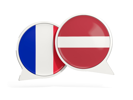 Flags of France and latvia inside chat bubbles isolated on white. 3D illustration