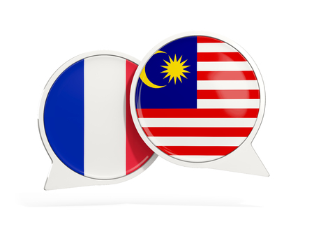 Flags of France and malaysia inside chat bubbles isolated on white. 3D illustration