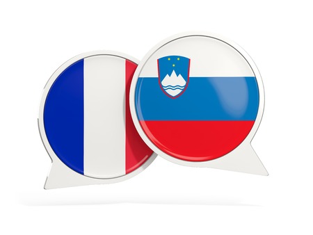 Flags of France and slovenia inside chat bubbles isolated on white. 3D illustration