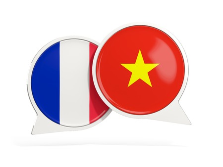 Flags of France and vietnam inside chat bubbles isolated on white. 3D illustration