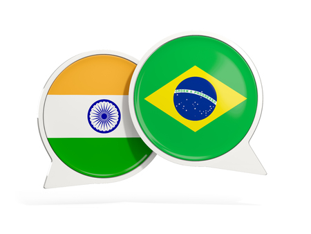 Flags of India and brazil inside chat bubbles isolated on white. 3D illustration