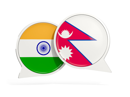 Flags of India and nepal inside chat bubbles isolated on white. 3D illustration Stock Photo