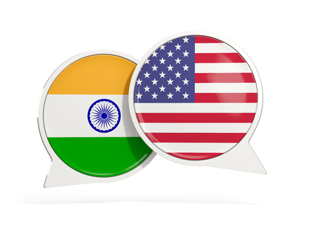 Flags of India and United States inside chat bubbles isolated on white. 3D illustration