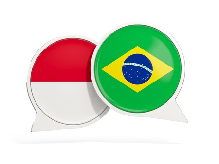 Flags of Indonesia and brazil inside chat bubbles isolated on white. 3D illustration