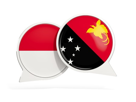 Flags of Indonesia and papua new guinea inside chat bubbles isolated on white. 3D illustration