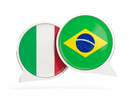 Flags of Italy and brazil inside chat bubbles isolated on white. 3D illustration