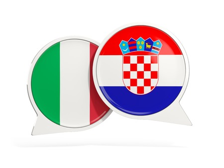 Flags of Italy and croatia inside chat bubbles isolated on white. 3D illustration