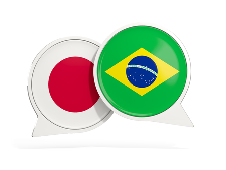 Flags of Japan and brazil inside chat bubbles isolated on white. 3D illustration