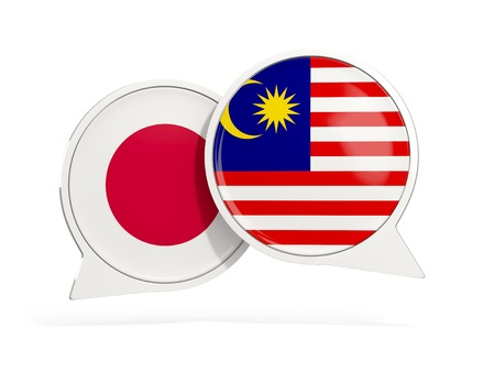 Flags of Japan and malaysia inside chat bubbles isolated on white. 3D illustration