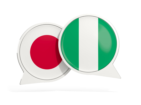 Flags of Japan and nigeria inside chat bubbles isolated on white. 3D illustration Stock Illustration - 124304659