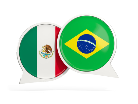 Flags of Mexico and brazil inside chat bubbles isolated on white. 3D illustration