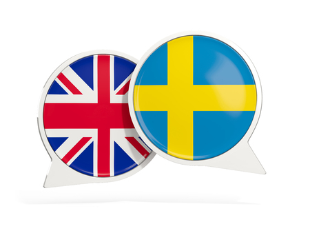 Flags of UK and sweden inside chat bubbles isolated on white. 3D illustration Stock Photo