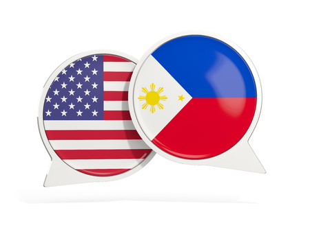 Flags of United States and philippines inside chat bubbles isolated on white. 3D illustration