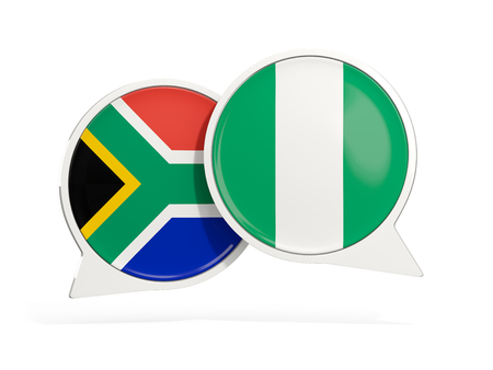Flags of South Africa and nigeria inside chat bubbles isolated on white. 3D illustration Stock Photo