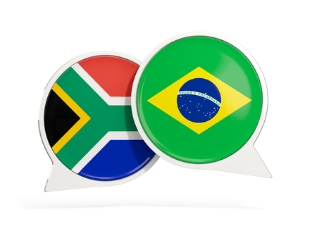 Flags of South Africa and brazil inside chat bubbles isolated on white. 3D illustration