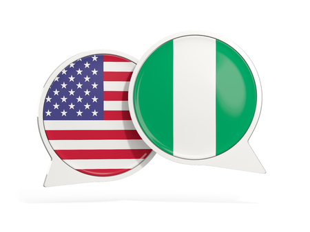 Flags of United States and nigeria inside chat bubbles isolated on white. 3D illustration