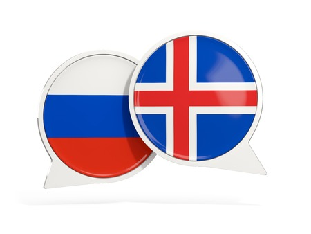 Flags of Russia and iceland inside chat bubbles isolated on white. 3D illustration