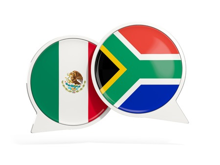Flags of Mexico and south africa inside chat bubbles isolated on white. 3D illustration Stock Photo